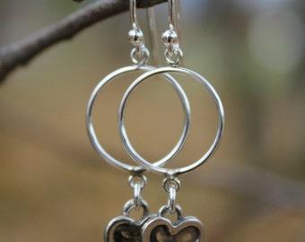 Sterling Silver Charm Earrings, Heart, Key, Strawberry, Moon
