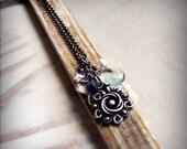 Silver gemstone necklace, bridal, romantic necklace, filigree flower necklace, metalsmith, aquamarine, amethyst , iolite