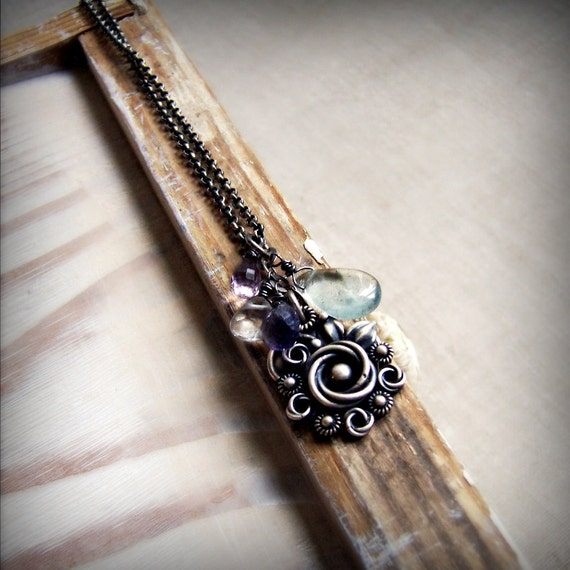 Silver gemstone necklace, bridal, romantic necklace, filigree flower necklace, metalsmith, aquamarine, amethyst , iolite