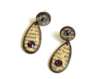 Decoupaged Earrings Vintage Dictionary Page Purple Swarovski Crystals Teardrop Dangle Earrings Post Earrings Drop Earrings Gift for Her