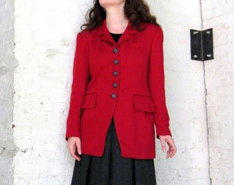 vintage 1980s jacket Hugo Biscotti dark Red Blazer Chic MILANO