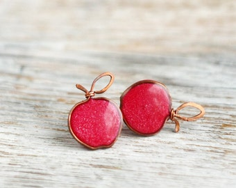 Post earrings - Red apples