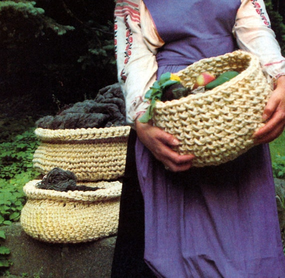 Vintage Crochet Pattern Baskets Sisal Rope Sculpture 1970s Digital ...