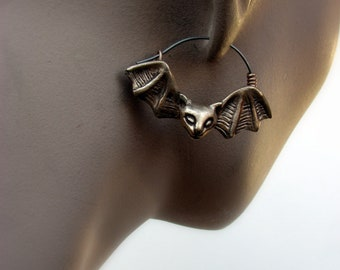Titanium hoop earrings bat cat