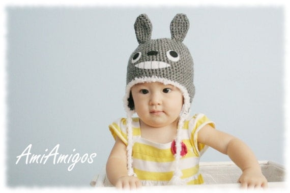 Crochet Totoro Hat (Made To Order - baby to adult sizes)