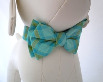 Plaid Bow Tie for Dog or Cat - Any Size - Cruise Time Ocean Blue and Green
