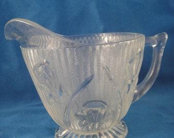 Vintage Crystal Iris and Herringbone Creamer Depression Glass