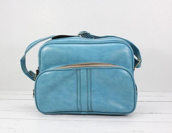 Retro Blue Airway Luggage Tote