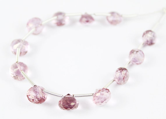 12 Beads - 4.5-6.5mm - Natural Pink Mystic Quartz Faceted Onion Beads Strand - JE 6353