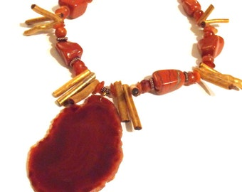 Huge Burnt Orange Agate Necklace - Chunky Gold Coral Spikes, Copper, Red Jasper, Tribal, Boho, Big, Ready to Ship, Geode, OOAK, Large Agate