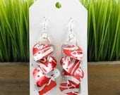 Sweet Heart Earrings.  Recycled Soda Can Art.  Coca Cola