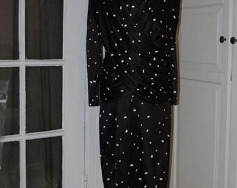 80s Dress, Slinky, Draped, Ruched, Disco, Cocktail, Black White Print, Wayne Diamond, Size M/L