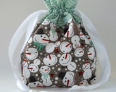Reusable Fabric Drawstring Gift Bag - Medium with Snowmen - Project Pouch