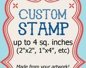 Custom Stamp - Logo Wedding Address Clear 4 sq in 2x2
