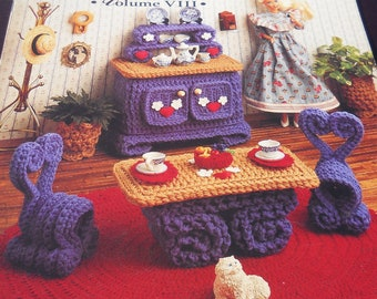 Breakfast Room Volume VIII Crochet Fashion doll furniture Pattern Book Free Shipping