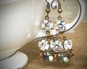 Gray Crystal Rhinestone Earrings, Chandelier, Cluster, Hollywood, Bride