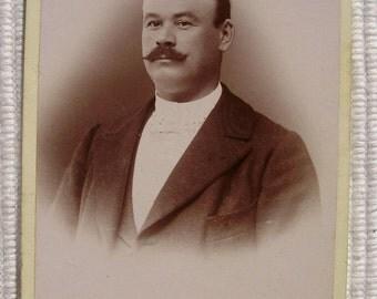 French Antique Photo / Carte de Visite (CDV) - Bald Man with Mustache (Edouard, Nevers, France).