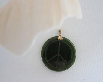 Vintage Jade Peace Sign Pendant 14k Gold Bale Engraved