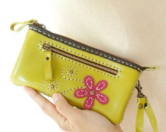 SALE, Hand Sewn Zippered Leather Pouch in Lemon Green with Wristlet Strap