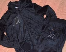 Personalized embroidered Bridal Party Velour tracksuit hoodie Set: Jump Suit, jacket, pants, Black, white, Bride, Bridesmaid  monogram set