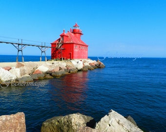 Red Lighthouse Wall Art or Black & White Wall Art Photo Print Fine Art Photography