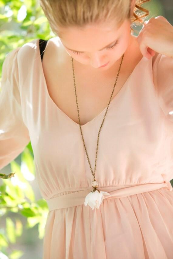 Boho Necklace, Sheer Ivory Flower Necklace, Bridesmaid Gift, Bridal Necklace