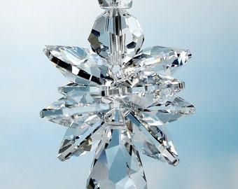 m/w Swarovski® Crystal Quadruple Winged Clear Guardian Angel Suncatcher Car Charm Ornament + Halo, Pearl Place N More