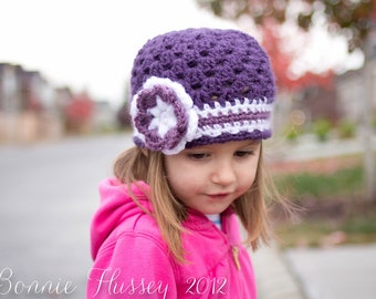 Crocheted Newborn Hat, Princess Beanie, Flowered Cloche for Girls, Crocheted Cloche Hat, Handmade Photography Prop