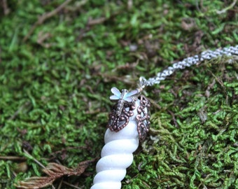 Unicorn Horn Necklace with Pastel Dragonfly // CLEARANCE SALE