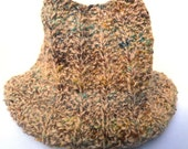 On Sale Unisex Cowl Tweed Knit in Shades of Brown and Teal