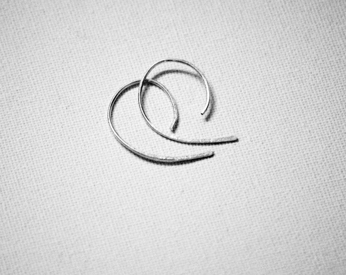 Gauge Earring Style, Half Hoop Earrings,  Minimalist,  Sterling Silver, Handmade Jewelry, Gift Idea, Fashion Earrings