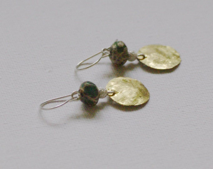 Ethnic African Turquoise Earrings with Brass circles in .925 sterling Silver Gift for her