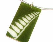 green fern pendant necklace - shrinky dink plastic - nature jewelry