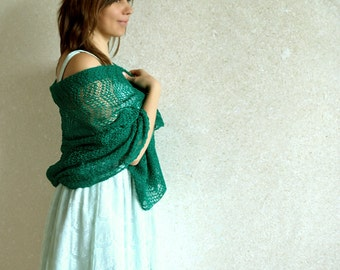 Emerald Green Scarf Linen Scarf Wedding Shawl Bridesmaids Stole Knitted Wrap Lace Scarf Gauzy Shawl Ultramarine Green Shawl