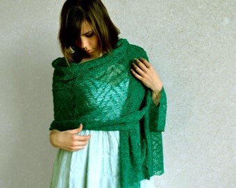 Emerald Linen Shawl Ultramarine Green Scarf  Green Shawl Gauzy Wrap Lace Stole Knitted Scarf Bridesmaids Stoles