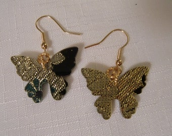 BUTTERFLY LUCITE EARRINGS / Pierced / Embedded Fabric / Green / Gold / Art Moderne / Modernist / Chic / Fashionista / Trendy / Accessories