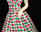 Vintage style  50's polka dot party mad men pin up holiday polka dot dress XL