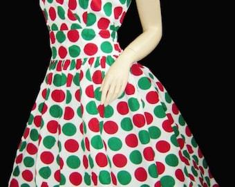Vintage style  50's polka dot party mad men pin up holiday polka dot dress XL