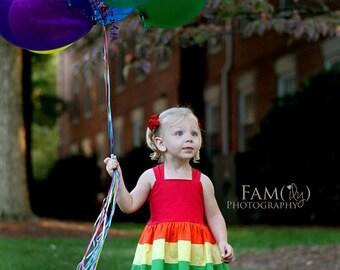 Girls Rainbow Dress, Girls Rainbow Party Dress, Girls Party Dress, Rainbow Dress, Rainbow Party, Rainbow, Girls Dress, Toddler Dress
