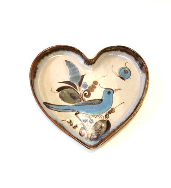 Mexican Pottery Bird In Heart Shaped Plate 8 By Modfolk On