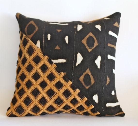 20x20 African Print Fabric Pillow Mudcloth Kuba Cloth