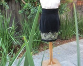 1980s YOUNGS COLLECTION Black Velvet pencil Skirt with Gold Embroidery & Beads
