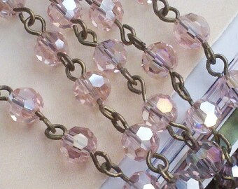 36 Inches of 6mm Faceted Round AB  Pink  Glass Beaded Rosary With Antique Brass Chain Links, Jewelry Making Supply