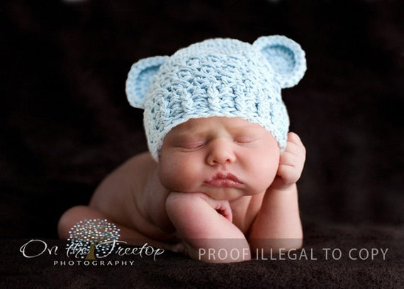 Baby Boy Hat, 0 to 3 Months Baby Boy Chunky Monkey Hat, Baby Crochet Flapper Beanie, Baby Blue with Ears. Baby Photo Props. Baby Gift.