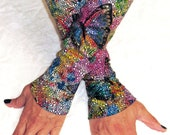 Leather Gloves with Butterfly pattern known as - Kittys -