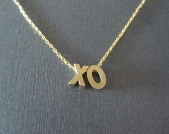 Two Gold Block Letter Initial Necklace