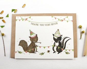 30% OFF - 10 Thank You Very Much Notecards - Squirrel and Skunk