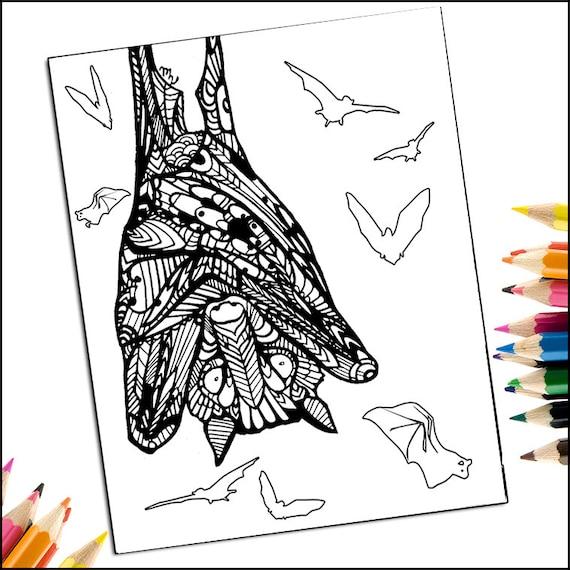 Items Similar To Zentangle Bat Coloring Page PDF