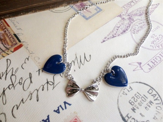 Navy hearts and silver tone bow tie necklace, geek / nerd necklace, Bow Ties For Me Please