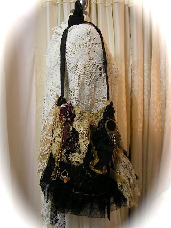 Gypsy Carpet Bag, slouchy hobo bag bohemian fabric bag thick earthy boho black ruffled lace embellished